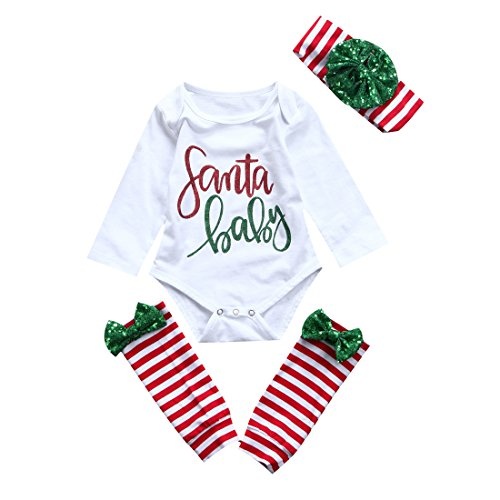 For Santa Outfit Girls (Baby Xmas Outfit Newborn Girls Santa Romper Leg Warmers Bow Headband 3Pcs Clothes Set -Glosun (0-6)