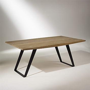 Table Plateau Bois Pied Metal.Robin Des Bois Table Plateau Chene Massif Pieds Metal 8