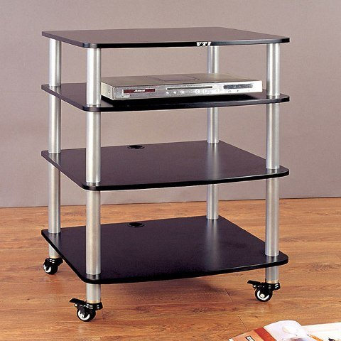 VTI Manufacturing AR404SB-02 4 Silver Poles 1 Black Shelf 7 in. Additional (Vti 4 Shelf)