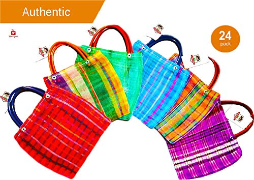 Alondra's Imports️ New (TM) Uniquely Designed, Mini Mexican Tote Favor Bags (Mexican Candy Bags - Mexican Mercado Bags - Mexican Mesh Bags - Bolsas Para Fiestas) 10 x 7 - Multi-Colored (24 Pack) for $<!--$36.90-->