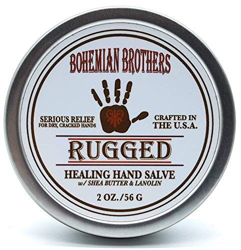 Serious Relief for Dry, Cracked Hands. Bohemian Brothers Natural Hand Salve(Ointment, Creme). Formulated with Lanolin, Cocoa Butter, and Vitamin E. Soothes and Protects Dry Chapped Skin.