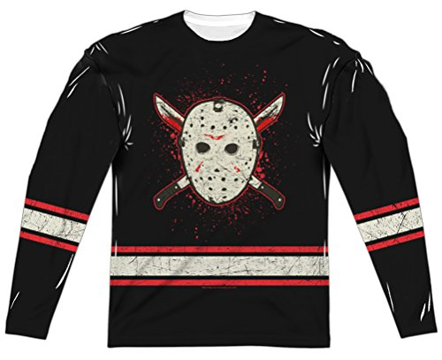 Friday the 13th Jason Voorhees Jersey Long Sleeve Sublimation (Front & Back), 3XL]()
