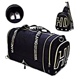 Gym Bags Weekender Overnight Duffel Bag with Shoes Compartment Carry on Travel Tote (Black)