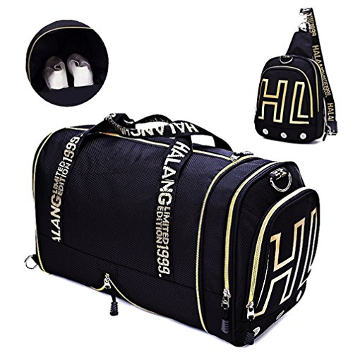 Gym Bags Weekender Overnight Duffel Bag with Shoes Compartment Carry on Travel Tote (Black) by Sunshinejing