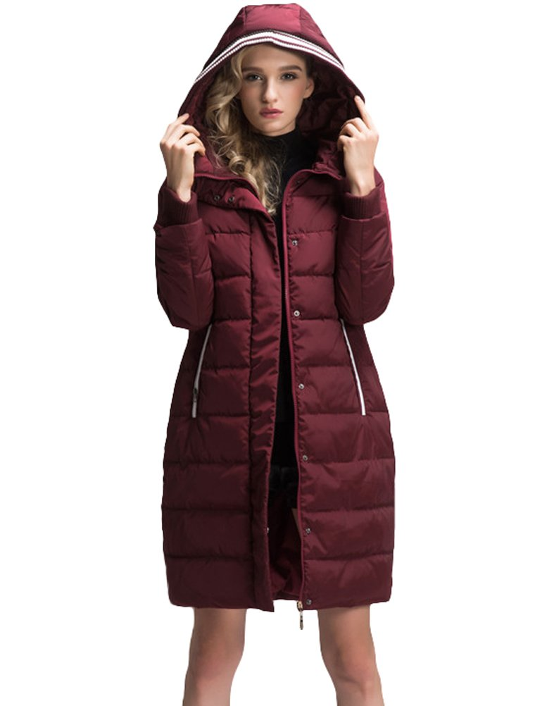 Mordenmiss Women's Long Sleeve Thicken Warm Winter Hooded Down Jacket Coat Style 4-M-Burgundy B-3-A6-1 by Mordenmiss