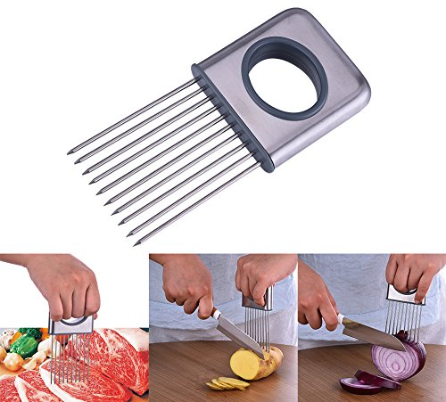 SHZONS Stainless Steel Meat Tenderizer with Super Sharp Needles,Multi-use Onion Holder Tomato Slicer Meat Tenderizer Kitchen Gadgets Vegetable Tools