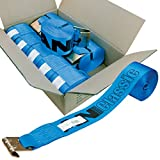 Vulcan Classic Winch Strap with Flat Hook - 5,000 lbs. Safe Working Load (4'' x 30' - Blue - Pack of 10)