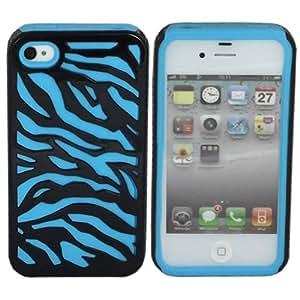 ASleek Blue / Black Zebra Hard Soft Hybrid Silicone Case Cover for Apple iPhone 4 / 4S