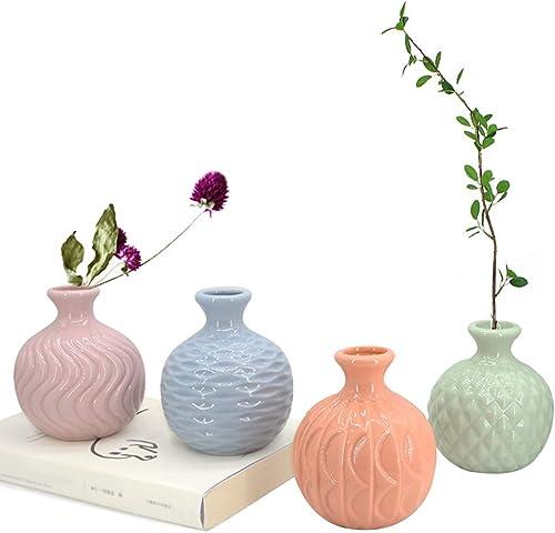 GeLive Ceramic Ikebana Vase, Flower Arrangement, Decorative Bud Hydroponics Container, Reed Diffuser Colorful 4 Pack