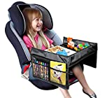VViViD Kid's Snack & Play Travel Tray - Easy to Clean Black Nylon, Reinforced Sides, Cup Holder, Safety Straps & Mesh Pockets. Great for Car Trips, Plane Trips & More!