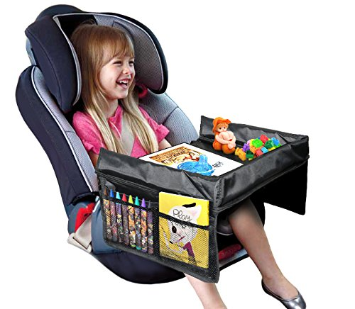 VViViD Kid's Snack & Play Travel Tray - Easy to Clean Black Nylon, Reinforced Sides, Cup Holder, Safety Straps & Mesh Pockets. Great for Car Trips, Plane Trips & More! by VViViD