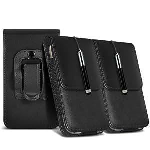 Samsung Galaxy Ace 2 I8160 protección pu estuche de cuero de la correa de la pistolera del tirón del caso de la cubierta del sostenedor y del lápiz óptico retráctil (Twin Pack) Negro por Spyrox