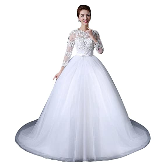 JJ-GOGO Women\'s White New Vintage Long Sleeve Lace Ball Gown Wedding ...