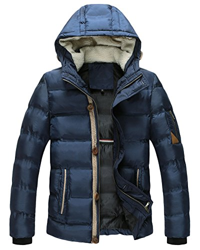 Mens Puffer Jacket Solid Colour Padded Warm Slim Quilted Coat Hooded Parkas Blue