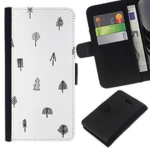 WINCASE Cuadro Funda Voltear Cuero Ranura Tarjetas TPU Carcasas Protectora Cover Case Para Sony Xperia M2 - árbol patrón negro blanco limpio minimalista