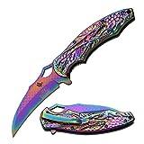 Master Collection Ballistic Dragon Folder Laser Etching Knife, Rainbow Titanium, 4.75″ For Sale