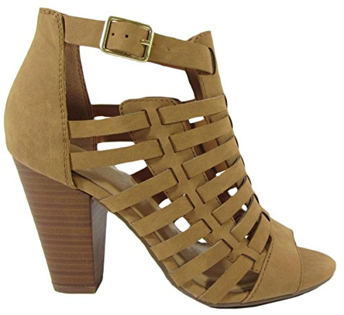 Lekkere Womens Cutout Caged Buckle Stacked Chunky Heel Bootie Tan