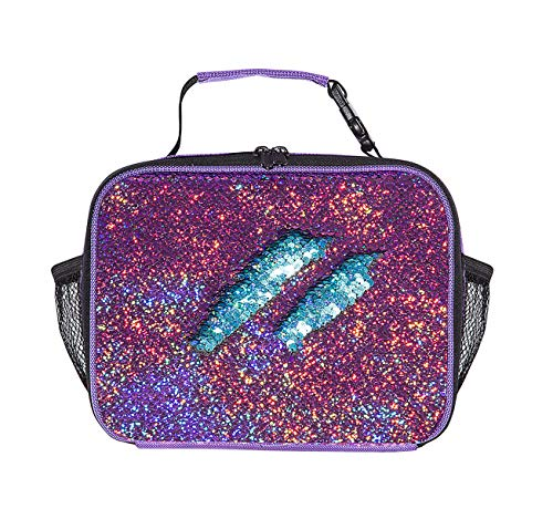 (Sparkly Girls Flip Sequins Insulated Lunch Tote Bag Violet To Blue Small Sequence)