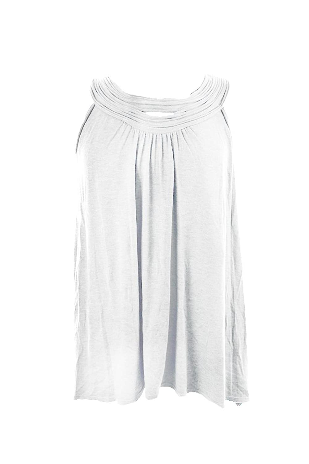 Studio M White Sleeveless Textured Neck Tank Top M