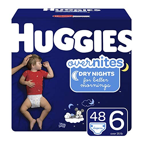 HUGGIES OverNites Diapers, Size 6, 48 Count, Overnight Diapers (Packaging May Vary) (Big 6)