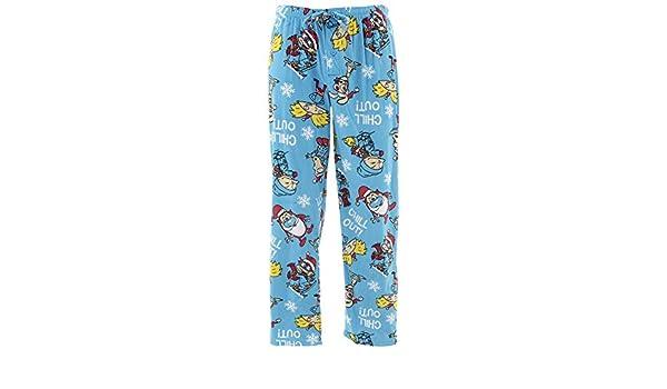 Nickelodeon Cartoons Christmas Blue Mens Sueded Fleece Lounge Pajama Pants