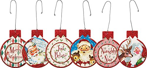 Primitives By Kathy 3 Inches x 3.25 Inches Red Santa Hanging Ornament Set Home Decor -