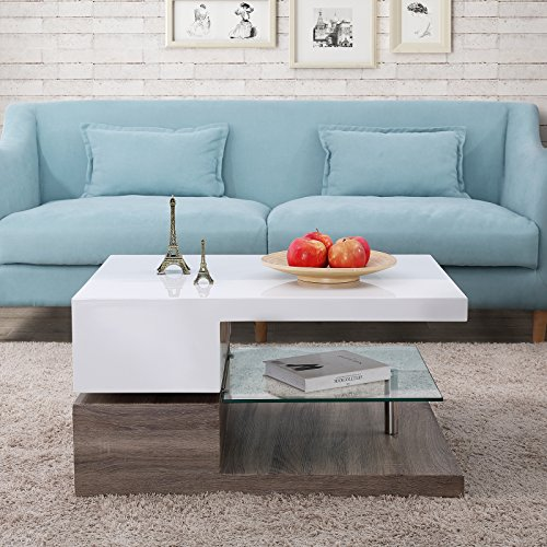 Mecor Swivel Coffee Table Design Coffee Table With Glass Living Room Furniture Walnut Buy Online In Dominica At Desertcart