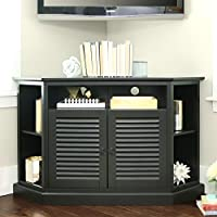 52 Inch Contemporary Wood Corner TV Stand, Black Finish