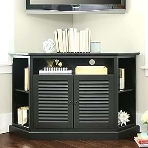 "WE Furniture 52"" Wood Corner TV Stand Console, Black"
