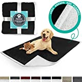 PetAmi Deluxe Dog Blanket for Couch | Pet Blanket for Puppy and Large Dogs | Reversible Sherpa Fleece Plush Cat Throw – 40 x 50 Inches Black