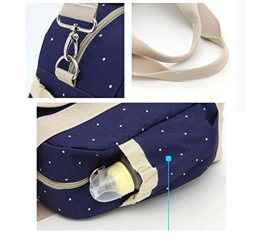 LCY 5pcs Tote Cruz Cuerpo Bolsa Para Pañales y Cambiador Juego Light Blue Flowers Dark Blue Dots