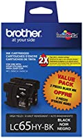 Brother LC65HYBK2 High-Yield 2-Pack Ink Cartridge, 900 Page-Yield, Black by Brother Printer