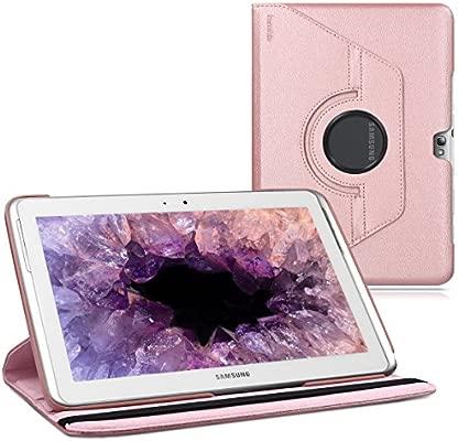 kwmobile Funda compatible con Samsung Galaxy Note 10.1 N8000 / N8010 - Carcasa de cuero sintético para tablet en oro rosa