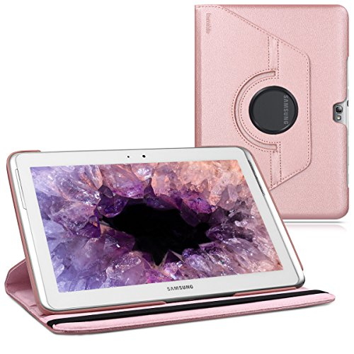 kwmobile 360° Case for Samsung Galaxy Note 10.1 N8000 / N8010 - PU Leather Protective Tablet Cover with Stand Function - Rose Gold (Best Note 10.1 Case)