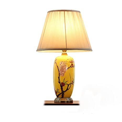 Ceramic Table Lamp Chinese Style Creative Copper Painted Flower And