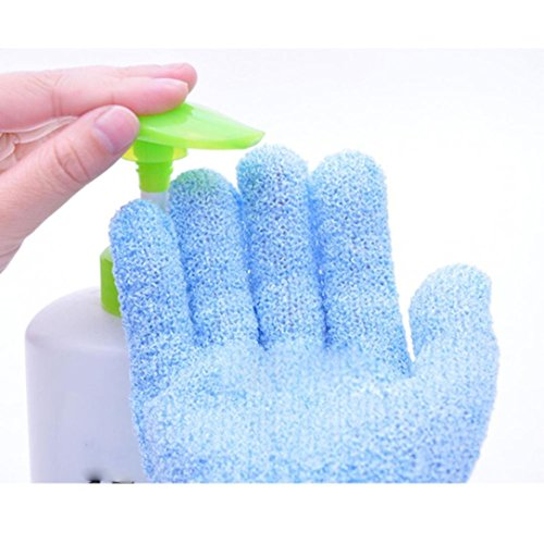 YJYdada 2Pair Bath Scrub mitt Gloves Massage Scrubber Shower wash Skin Spa Shower Tool (Blue)