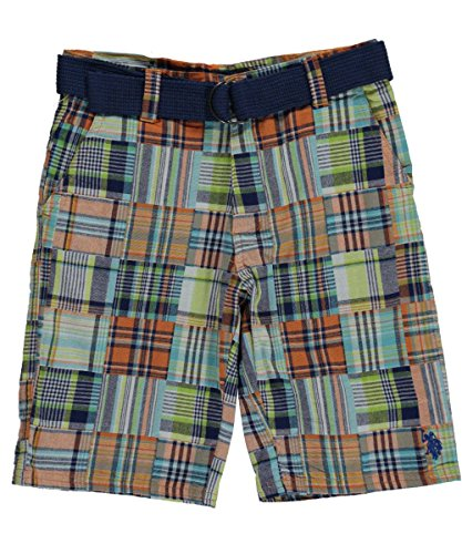 Patchwork Boys Shorts (U.S. Polo Assn. Big Boys' Belted Patchwork Walking Short, Plaid,)