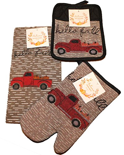 Twisted Anchor Trading Co 3 Pc Vintage Truck Fall Autumn Kitchen Towel Set - Includes Pot Holder, Fall Kitchen Towel, and Oven Mitt by Twisted Anchor Trading Co