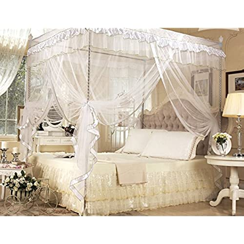 White Four Corner Square Princess Bed Canopy Mosquito Netting (Full/Queen)