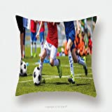 Custom Satin Pillowcase Protector Football Soccer Match For Children Kids Playing Soccer Game Tournament Boys Running And Kicking 548365051 Pillow Case Covers Decorative