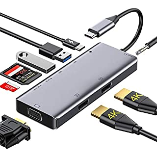 GIKERSY USB C Hub, 9 in 1 USB C to Dual 4k HDMI Adapter,1080P VGA,USB3.0/2.0,87W PD,SD/TF Card Reader,3.5mm Audio Compatible for MacBook Pro,Dell XPS13 &15'' (Different Displays Only for Windows)