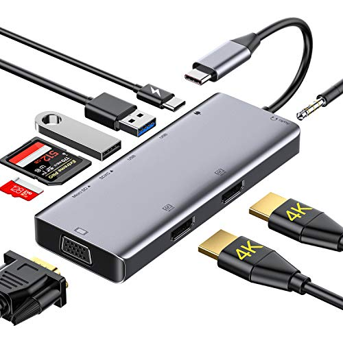 USB C Hub,GIKERSY 9 in 1 USB C Docking Station with 2 HDMI 4K,1080P VGA,USB3.0/2.0,87W PD,SD/TF Card Reader,3.5mm Audio Compatible for MacBook/Type C Laptops(Windows Laptops Support Triple Display)