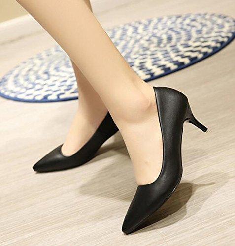 Chfso Donna Comode Stiletto In Punta Di Piedi A Punta Bassa Slip On Mid Heel Scarpe Da Lavoro Scarpe Nere