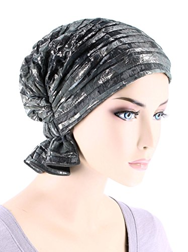 Abbey Cap Womens Chemo Hat Beanie Scarf Turban Headwear For Cancer Blended Knit Gray Silver Stripe (Burnout Cap)