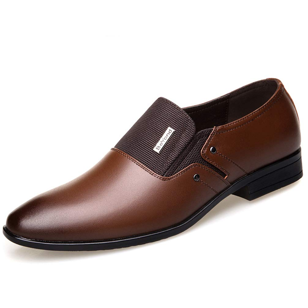 Mens Oxford Shoes Pointed Toe Slip-On Comfortable Flats Dress Shoes Big Size