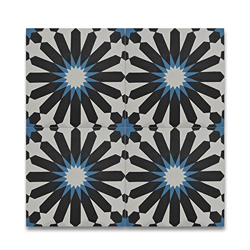 Alhambra Multi-color Handmade Cement Moroccan Tiles pack of 12 Morocco Decorative floor and wall tiles