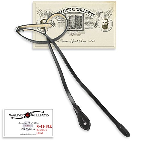 (Walker & Williams M-41 Black Leather Mandolin Strap For A or F Types)