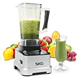 SKG Multifunctional Smoothie Blender Commercial Professional Grade Power with LCD display panel,8 Pre-programmed Setting and Pulse 1400W,Black & Silver