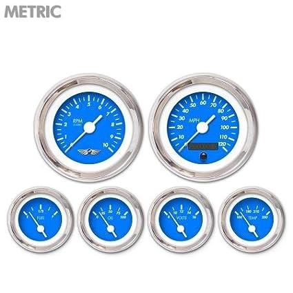 Aurora Instruments GAR238ZMARABAD Marker Blue 6-Piece Gauge Set with Emblem