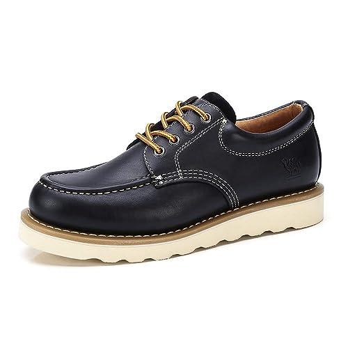 CAMEL CROWN Zapatos de Trabajo de Cuero para Hombres Botas No de Seguridad con Cordones de Corte bajo Zapatos de Vestir de Oxford Ocasionales: Amazon.es: ...